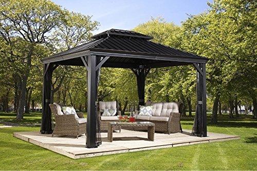 aluminium pavillon ueberdachung gazebo messina 298x363 cm bxh sommer pavillon und gartenlaube mit hard top dach von sojag - Grillpavillon - Schutz vor Sonne und Regen